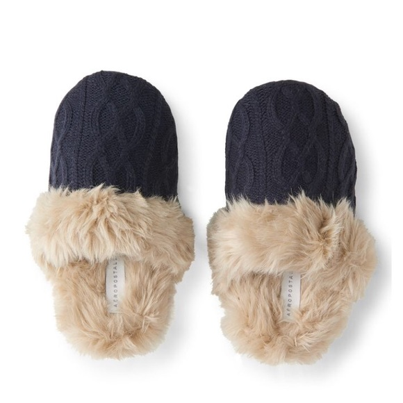 Aeropostale Shoes Navy Cable Knit Slippers Poshmark